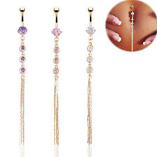 Fashion Tassel Belly Button Navel Ring Crystal Rhinestone Dangle Body Jewelry