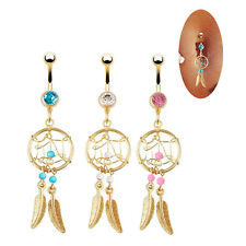 New Campanula Jewelry Belly Button Body Piercing Dangle Navel Ring Gold Plated