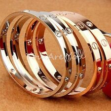 Gold/Silver/Rose Mens Women Bracelet Bangle Cuff w/ Screw Not Off Lovely Band