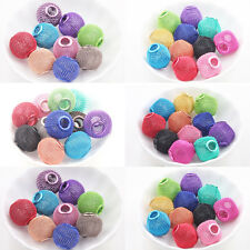 5-20Pcs Mixed Large Mesh Bling Rondelle Ball Big Hole Beads Charms DIY Findings