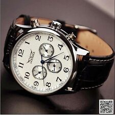 New Jaragar Leather Strap Watches Date Day Automatic Mechanical Self-Wind Watch