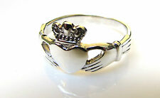 Funky 925 SOLID Sterling Silver Irish / Celtic Claddagh Love Ring Size L to T