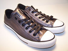 Converse CT OX Black Womens Shoes Leather Shiny Grey Metallic Sneakers NEW