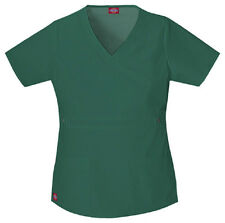 Scrub Dickies Gen Flex Youtility Mock Wrap Top 817355 Hunter   FREE SHIPPING