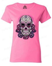 Sugar Skull Anchor Pink Roses Women's T-Shirt Day of the Dead Shirts