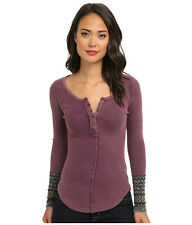 NWT Free People Alpine Cuff Henley Thermal Top Shirt PLUM  XS or L