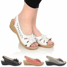 WOMENS LADIES LOW HEEL CASUAL LOAFER CUT OUT BALLERINA SLIP ON SHOES SANDALS
