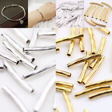 50Pcs Curved Tube Silver Gold Plated Elbow Noodle Spacer Loose Bead Jewelry DIY