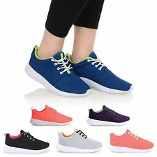 NEW WOMENS SPORTS LACE UP FLAT TRAINERS GYM RUNNING WORKOUT LADIES SHOES SIZE