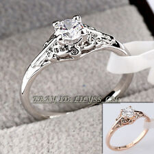 Fashion Engagement Wedding Ring 18KGP CZ Rhinestone Crystal