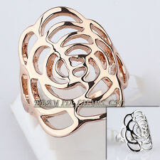 A1-R3106 Flower Fashion No Stone Ring 18KGP Size 5.5-9