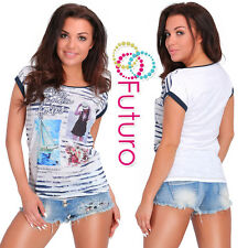 Party Sequined T-Shirt Focus Print Crew Neck Top Casual Tunic Sizes 8-12 FB233