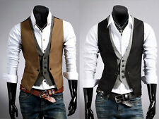 New Fashion Men Jacket Suit Slim Fit Vest Casual Business Formal Vest Waistcoat