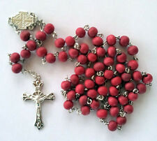 Red Wooden Catholic Rosary Beads Beaded Necklace Necklaces Cross Pendant Christ