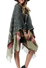 CHELSEA VERDE Moroccan Woven Olive Boho Blanket Poncho/Sweater/Cardigan 617C OS