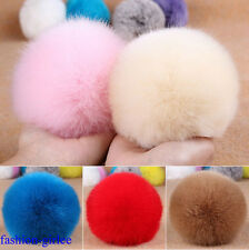 Stylish Cute Genuine Rabbit Fur Ball Handbag Key Chain Cell Phone Car Pendant