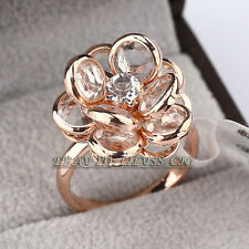Fashion Solitaire Flower Ring 18KGP CZ Rhinestone Crystal