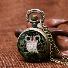 Vintage Owl Steampunk Retro Bronze Pocket Watch Quartz Chain Necklace Pendant