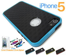 Carbon Fibre Design with High Gloss Edges Soft TPU Case Cover For Apple iPhone 5