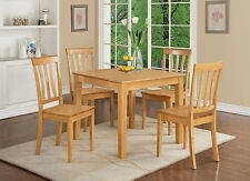"""36"""" SQUARE DINETTE KITCHEN DINING TABLE SET W/ SOLID WOOD SEATS IN OAK FINISH"""