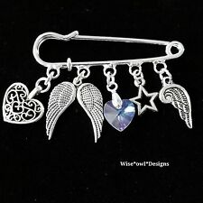 GORGEOUS GARDIAN ANGEL PIN BROOCH *GREAT GIFT IDEA* GIFT BOX OR VELVET POUCH.