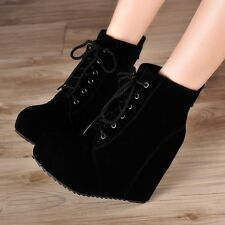 Vintage Women Round Toe Faux Suede Wedge High Platform Heel Lace Up Ankle Boots