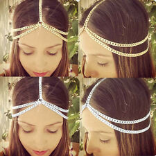 Women Shiny Metal Head Chain Hair Jewelry Headband Head Piece Metal Hair Band