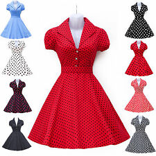Vintage Style 60's 50's Polka Dot Rockabilly Swing Pinup Formal Prom Party Dress