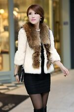 100% Real Rabbit Fur Coat Women Fur Jacket with Natural Raccoon Fur Collar C0080