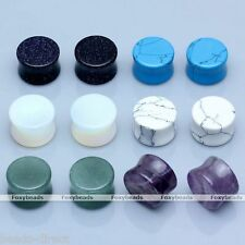 6 Pair Organic Stone Flared Ear Tunnels Plugs Expander Stretcher Gauges Piercing