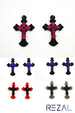Large Crucifix Cross Laser Cut Earrings in 5 Colors Goth Gothic Christian Easter