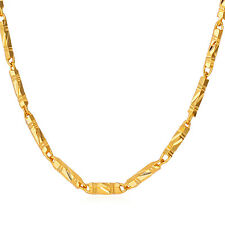 Thin Bar Link Chain Necklaces 20'' 18K Gold/Platinum Plated Fashion Men Jewelry