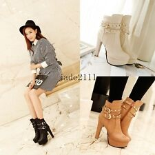 Women's Elegant Round Toe Buckle Strap High Heel Ankle Boots Studded Plus Size