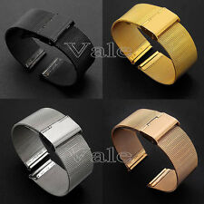 18~24mm Mens Ladies Stainless Steel Watch Mesh Bracelet Strap Replacement Band