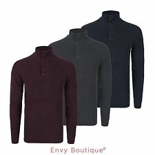MENS HIGH BUTTONED NECK RIB KNITTED JUMPER RIBBED CASUAL RAGLAN SLEEVE PULLOVER