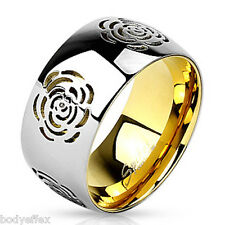 HOT WOMENS STAINLESS STEEL SILVER WITH GOLD IP FLOWER CUT OUT TWO-TONE BAND RING