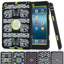 Armor Rugged Pattern Heavy Duty Soft Rubber Hard Matte Case Cover For Apple iPad