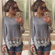 Fashion Women Summer Vest Top Long Sleeve Blouse Lace Casual Tank Tops T-Shirt