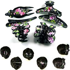 Long Big Large Hand Painted Flower Rhinestone Hair Jaw Clip Claw Clamp Pin Black
