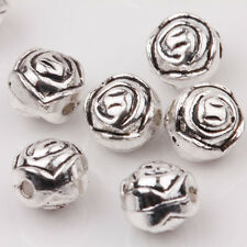 Wholesale 10/20Pcs Tibet Silver Charms Carved Round Spacer Loose Beads DIY 7mm