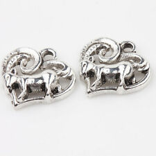 Wholesale 15/30Pcs Tibet Silver Charms Sheep Heart Pendants Finding DIY 14*14mm