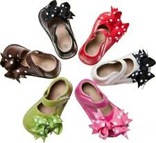 Leather Squeaky Shoes w/clip on Bows Shoe Size 1 2 3 4 5 6 7 (runs big)