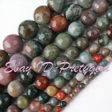 "Round Faceted Indian Agate Multicolor Gemstone Beads Strand 15"" 4,6,8,10,12,14mm"
