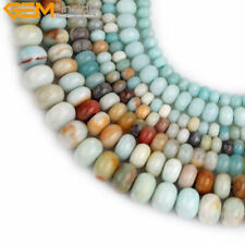 """Natural Stone Rondelle Amazonite Gemstone Loose Beads For Jewelry Making 15"""""""