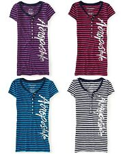 NEW Aeropostale Womens Vertical Foil Logo Striped Henley Short Sleeve Tee Shirt
