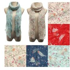 Lady Bird Flower Print Warm Chiffon Shawl Scarf Wrap Stole Pashmina Christmas
