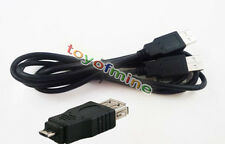 USB Male to Male Cable + Micro USB 5 Pin to USB2.0 Female OTG Adapter Connector