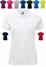Womens Polo Shirt Stretch Fitted Longer Length Soft Feel Short Sleeve Summer Top