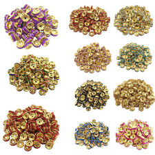 50/100Pcs Golden Plated Crystal Disc Loose Spacer Beads Charms Jewelry DIY 8mm