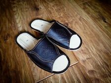 New Mens Brown 100% Natural Leather Slippers Size 7 8 9 10 11 Luxur Flip-Flop